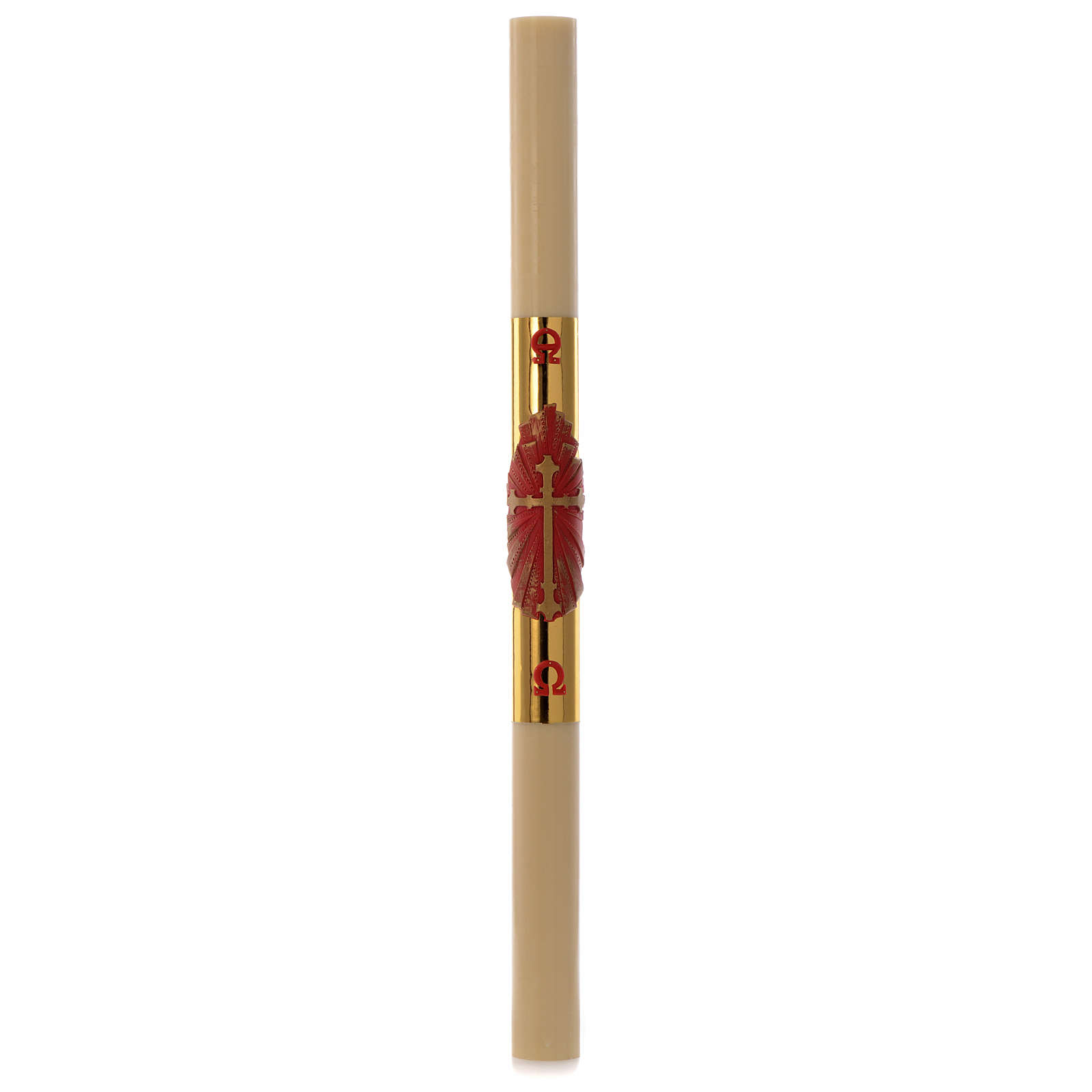 Paschal candle in beeswax with red and golden cross 8x120cm 3