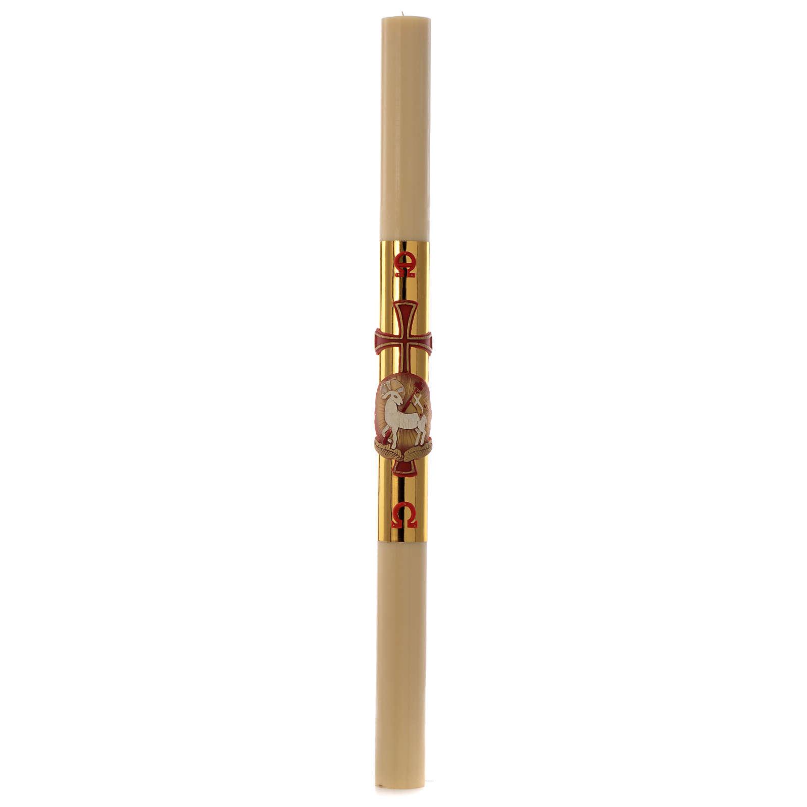 Cierge Pascal Agneau et croix fond doré 8x120cm 3