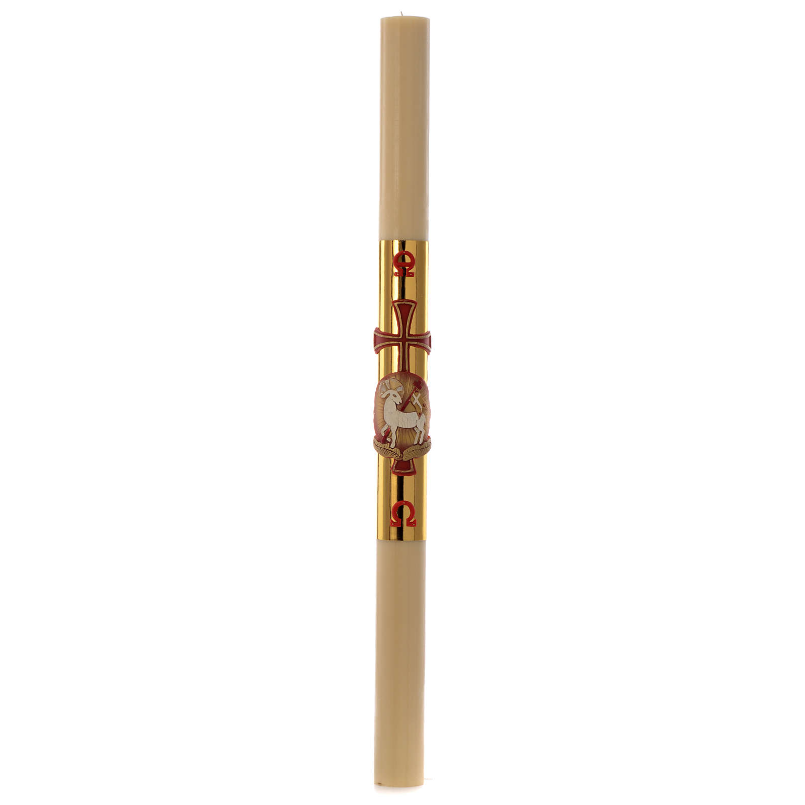 Paschal candle in wax with lamb and golden cross 8x120cm 3