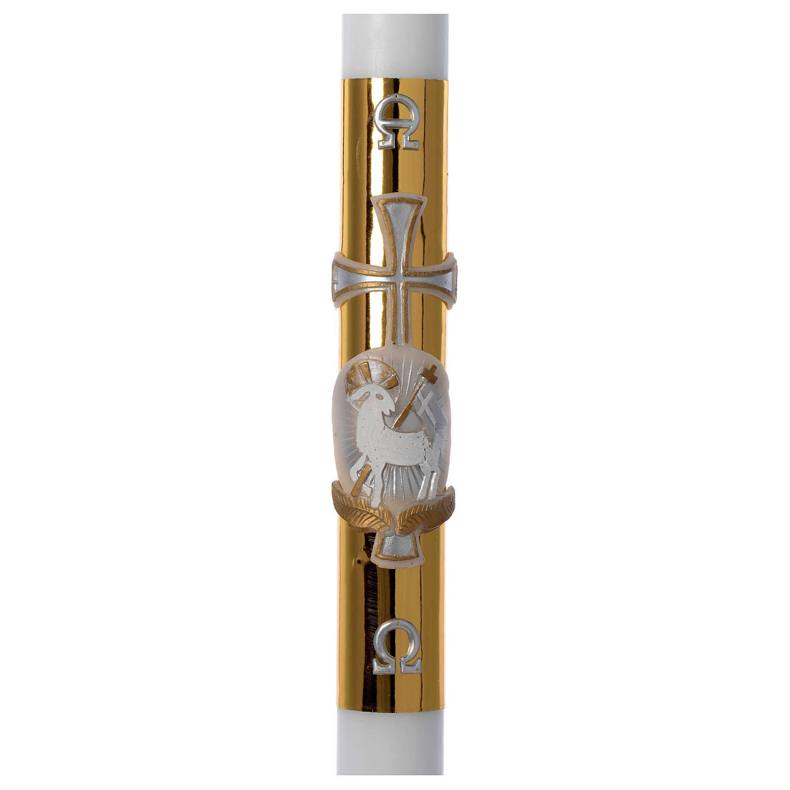 07f93ad74d0 Cirio Pascual cera blanca cordero cruz fundo dorado 8x120 cm 3