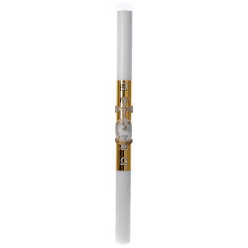 Cero pasquale bianco Agnello croce fondo dorato 8x120 cm 3