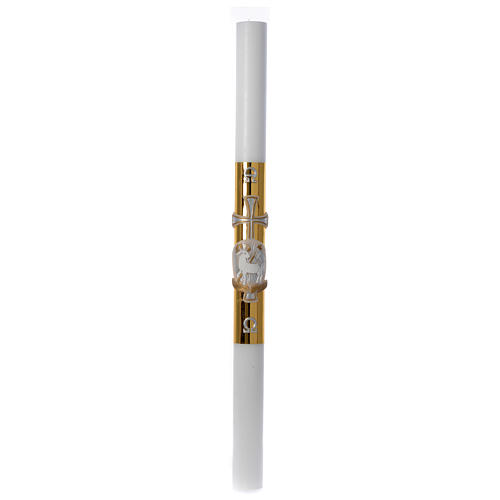 Paschal candle in white wax with lamb and golden cross 8x120cm 3
