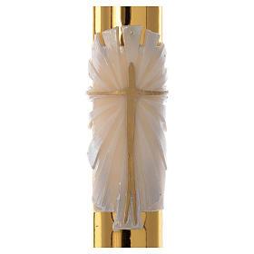 Cierge pascal blanc Croix fond doré 8x120cm s2