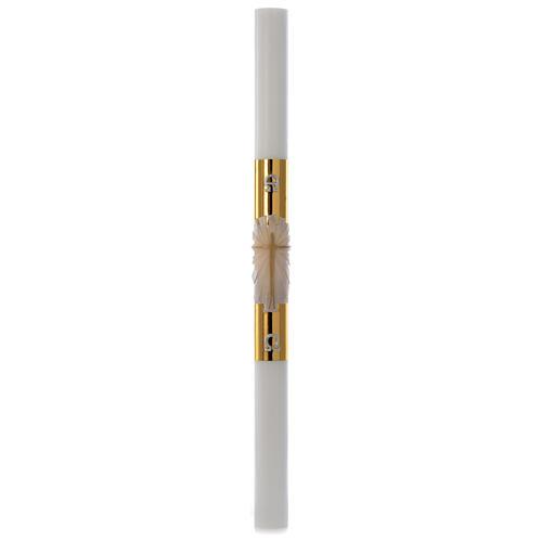Cierge pascal blanc Croix fond doré 8x120cm 3