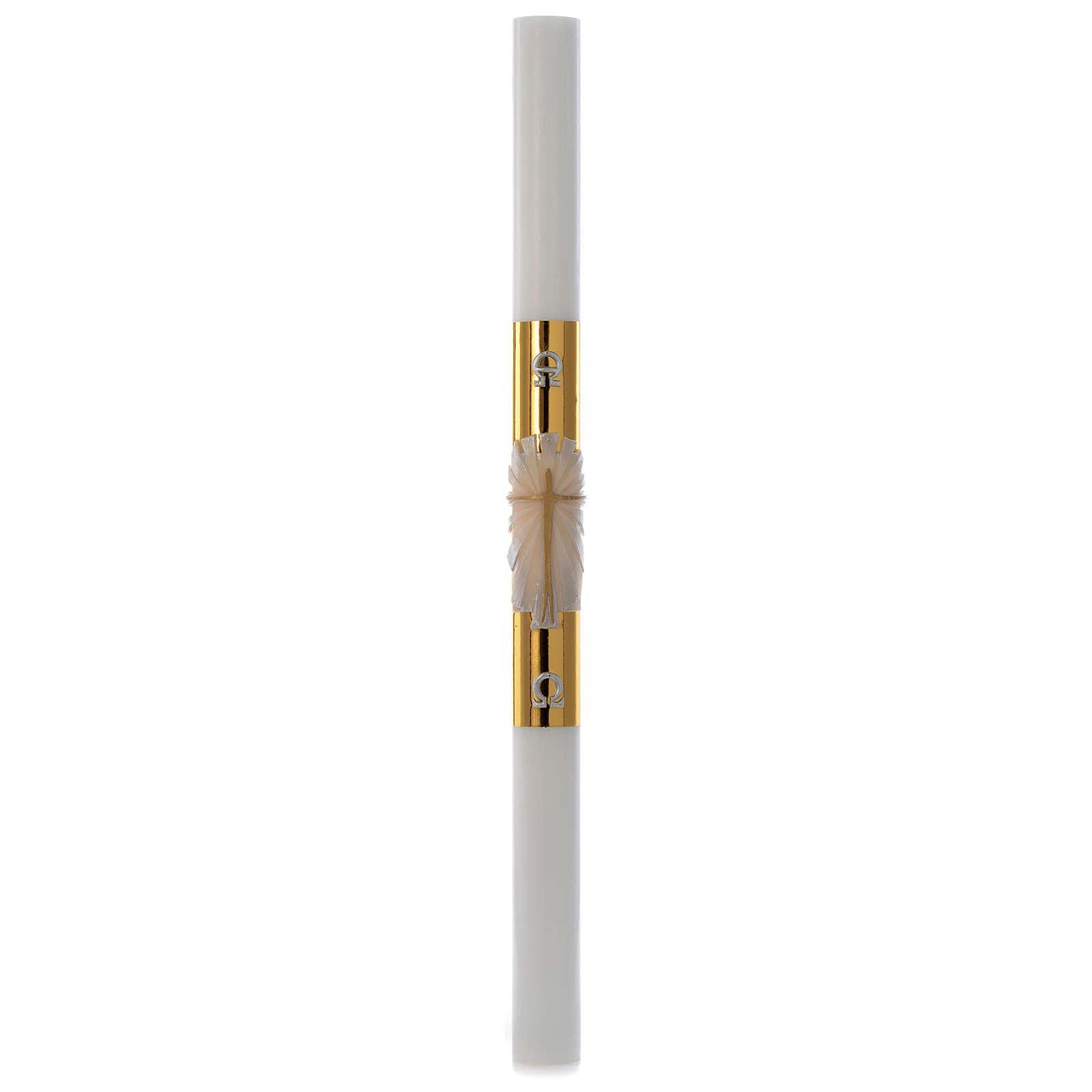 Cero pasquale bianco Croce fondo dorato 8x120 cm 3