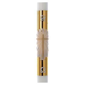 Cero pasquale bianco Croce fondo dorato 8x120 cm s1
