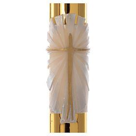 Cero pasquale bianco Croce fondo dorato 8x120 cm s2