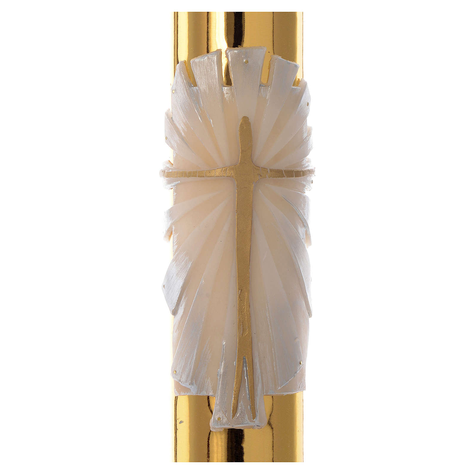 Paschal candle in white wax with golden cross 8x120cm 3