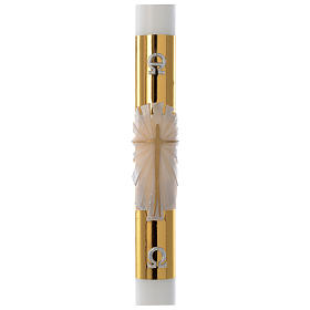 Paschal candle in white wax with golden cross 8x120cm s1