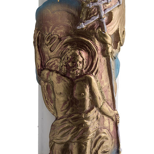 Paschal candle in white wax with support and Resurrected Christ 8x120cm 2