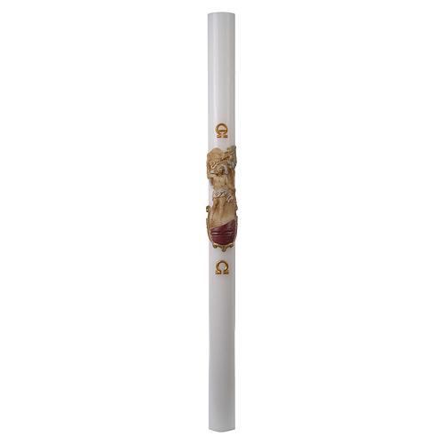 Cirio Pascual blanco REFUERZO Jesucristo Resucitado colores 8x120 cm 3