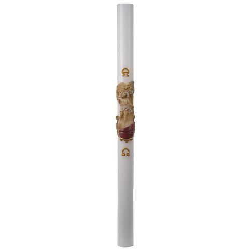 Cierge Pascal blanc RENFORT Christ Ressuscité coloré 8x120cm 3