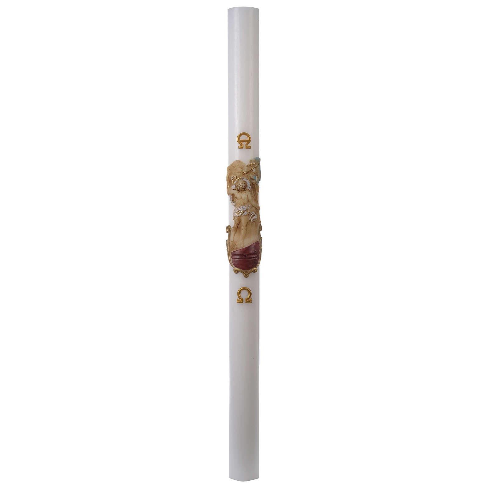 Cero pasquale bianco RINFORZO Cristo Risorto colorato 8x120 cm 3