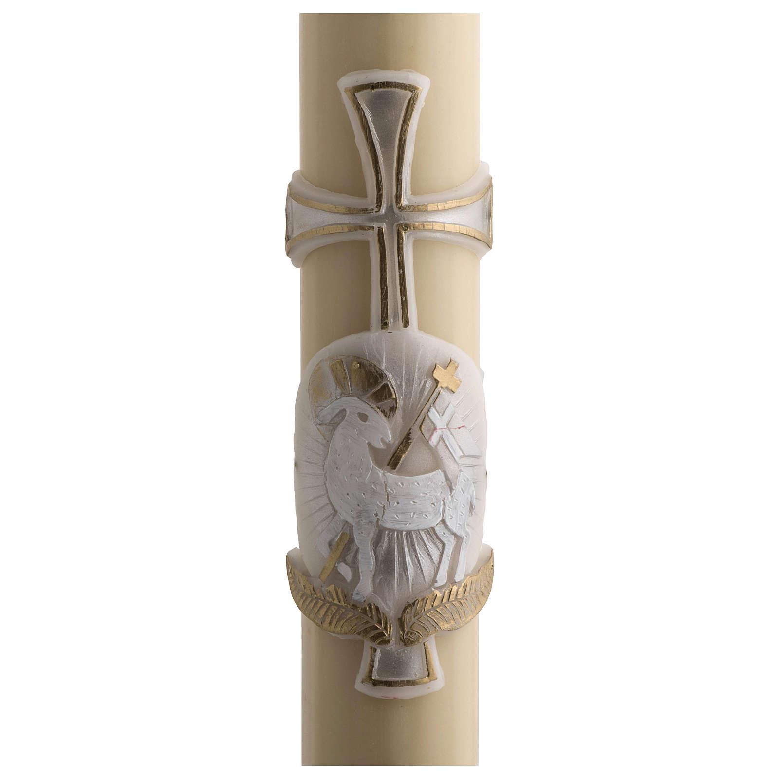 Cierge Pascal cire abeilles RENFORT Agneau argent croix 8x120cm 3