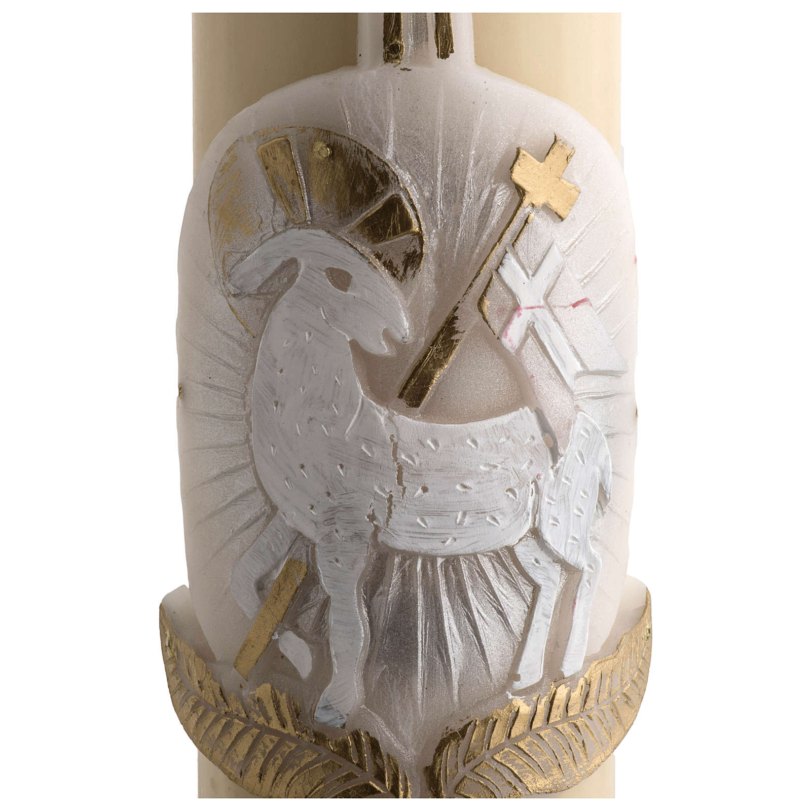 Paschal candle in beeswax silver Lamb and cross with inner reinforcement 8x120cm 3