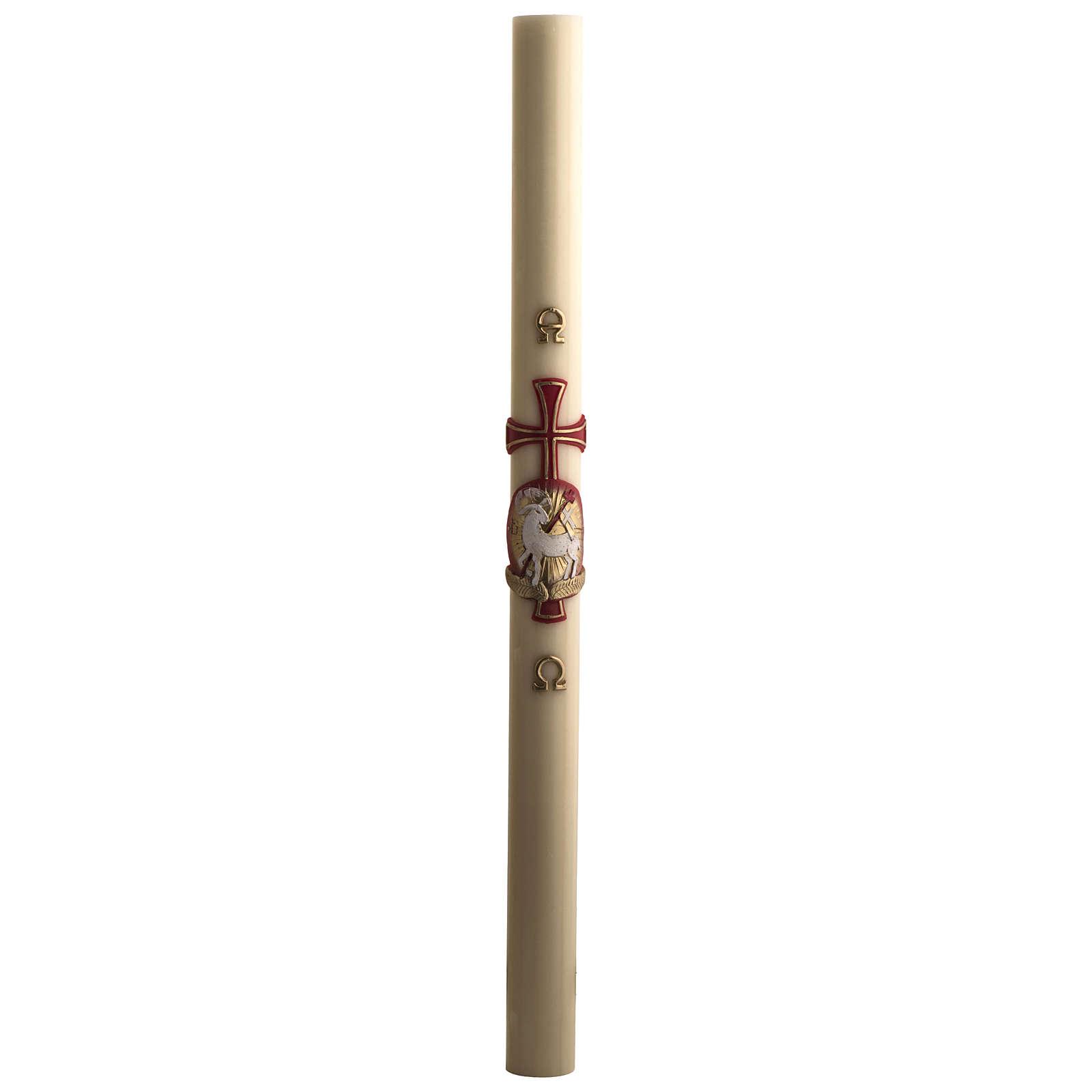 Osterkerze mit EINLAGE Bienenwachs roten Kreuz und Lamm 8x120cm 3