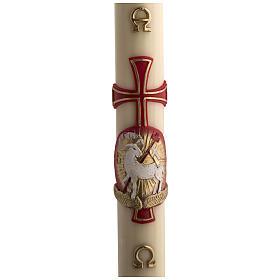 Osterkerze mit EINLAGE Bienenwachs roten Kreuz und Lamm 8x120cm s1