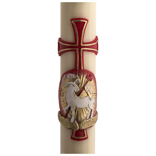 Osterkerze mit EINLAGE Bienenwachs roten Kreuz und Lamm 8x120cm