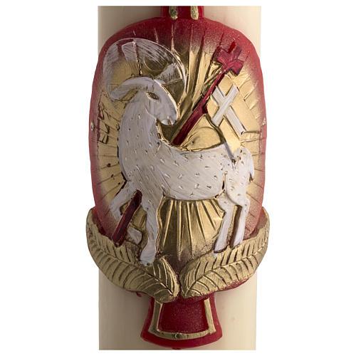 Osterkerze mit EINLAGE Bienenwachs roten Kreuz und Lamm 8x120cm 4