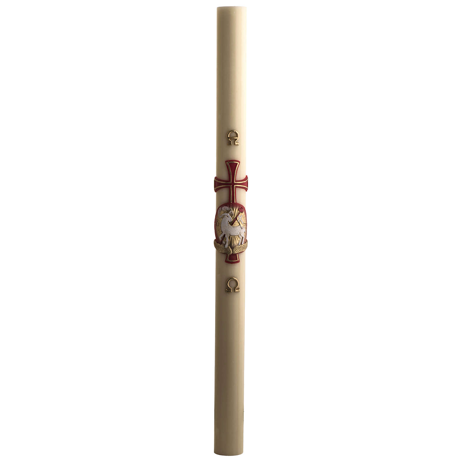 Paschal candle in beeswax with support and Lamb and cross 8x120cm 3