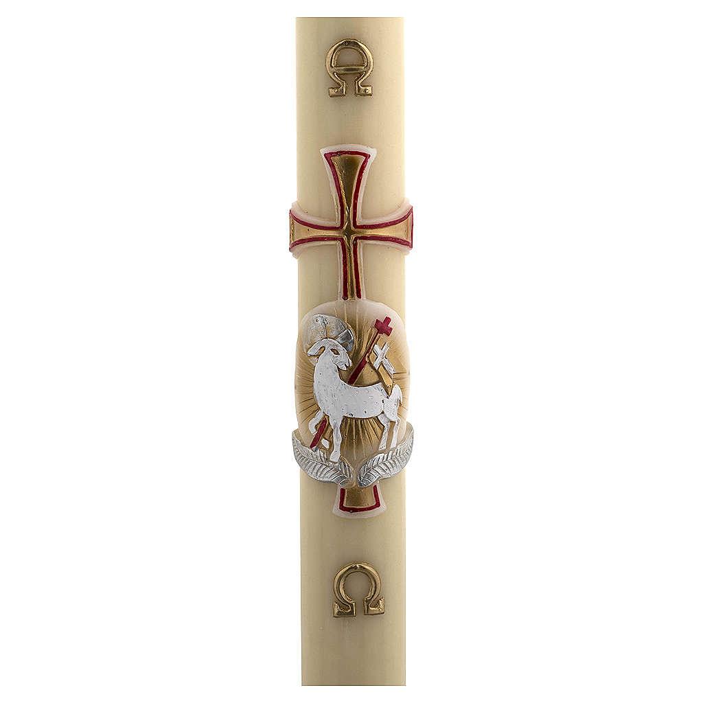Cero pasquale cera d'api RINFORZO agnello oro e rosso croce 8x120 cm 3