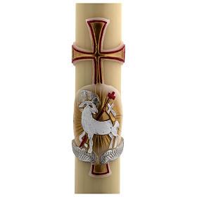 Cero pasquale cera d'api RINFORZO agnello oro e rosso croce 8x120 cm s2