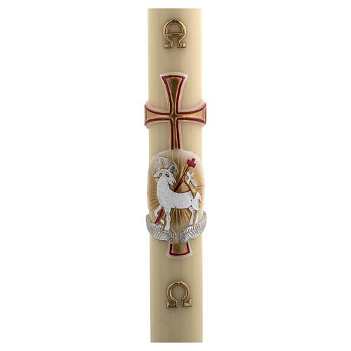 Cero pasquale cera d'api RINFORZO agnello oro e rosso croce 8x120 cm 1