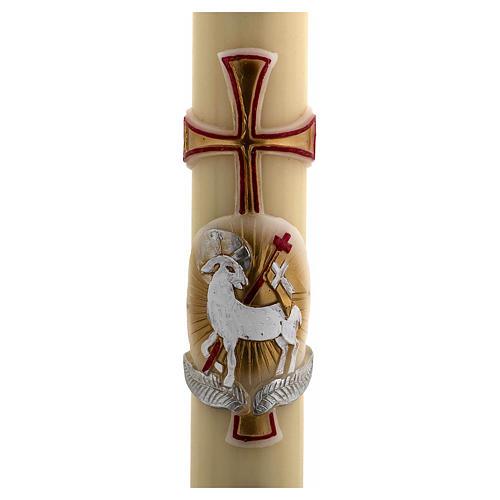 Cero pasquale cera d'api RINFORZO agnello oro e rosso croce 8x120 cm 2