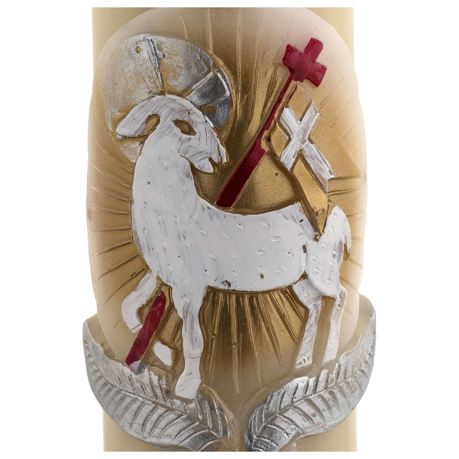 Paschal candle in beeswax with support and red and gold Lamb and cross 8x120cm 3