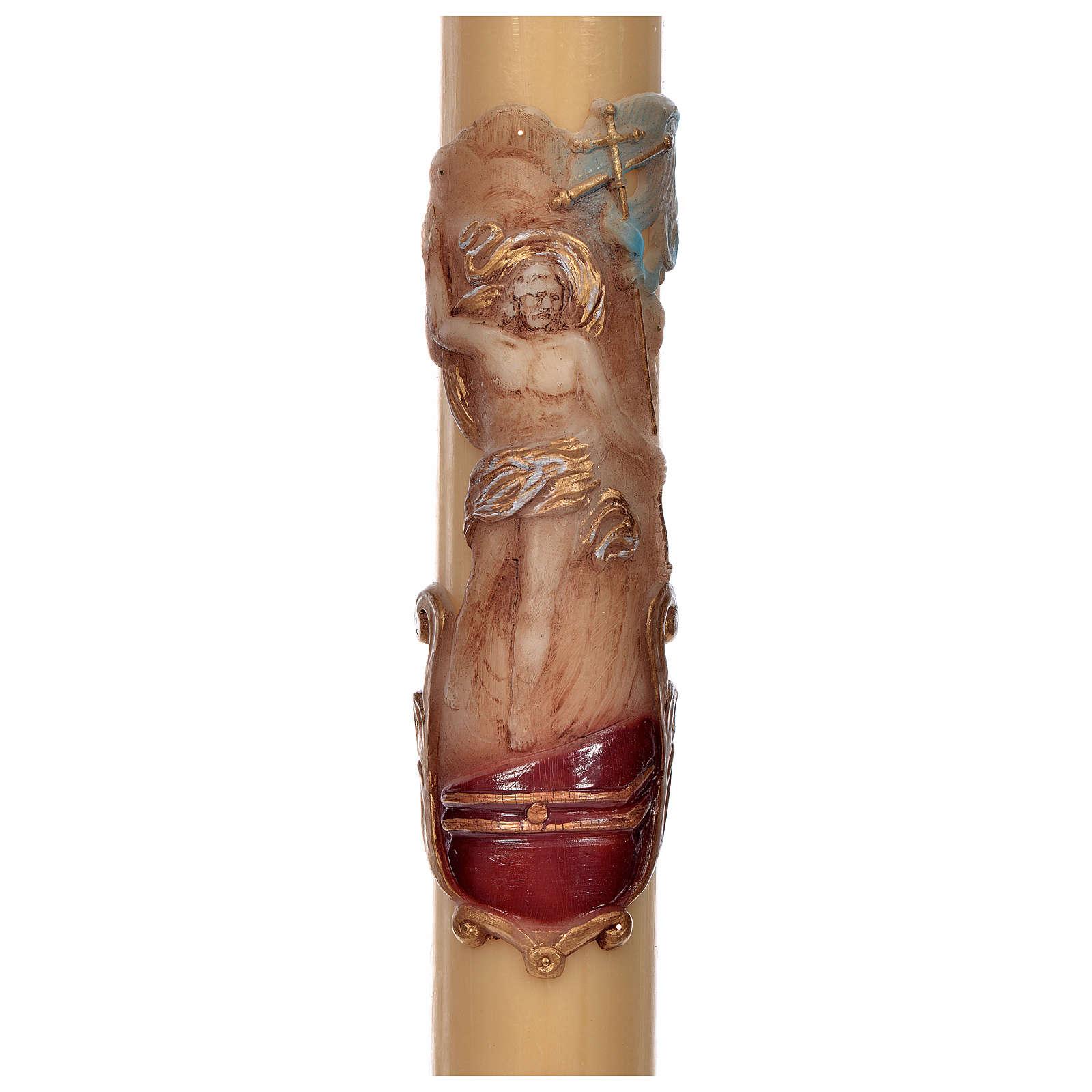 Cero pasquale cera d'api RINFORZO Cristo Risorto 8x120 cm 3