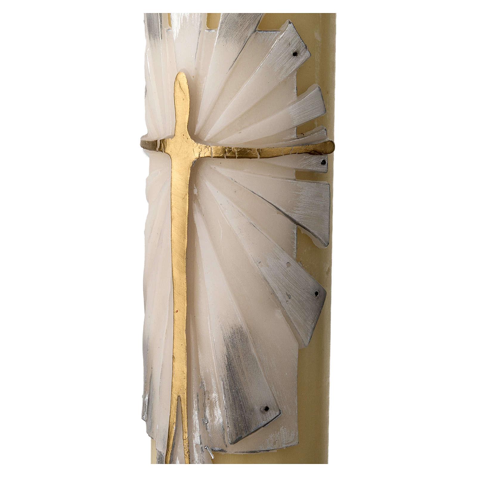Cirio Pascual cera de abeja REFUERZO Jesucristo Resucitado fundo blanco y plata 3