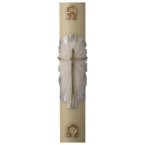 Cirio Pascual cera de abeja REFUERZO Jesucristo Resucitado fundo blanco y plata 1