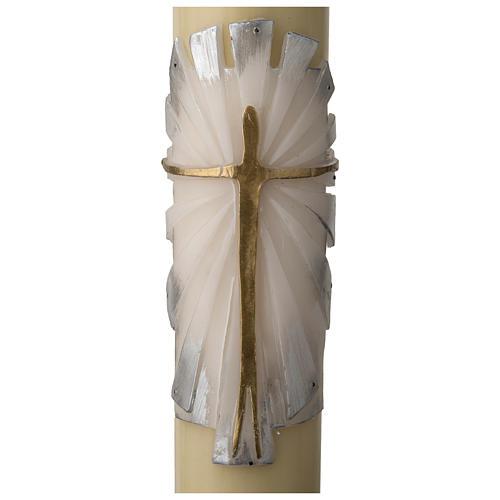 Cirio Pascual cera de abeja REFUERZO Jesucristo Resucitado fundo blanco y plata 2