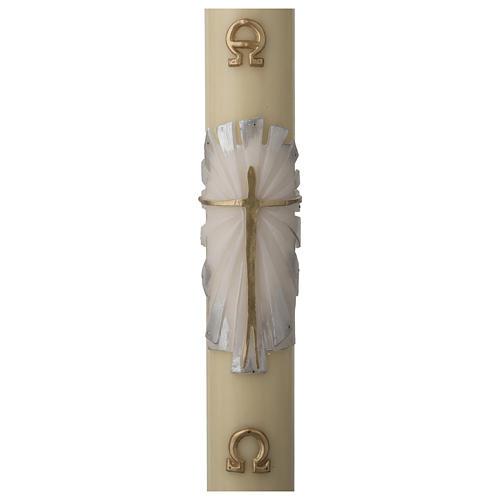Cero pasquale cera d'api RINFORZO Risorto fondo bianco argento 1