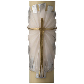 Paschal candle in beeswax with support and white and silver Resurrected Christ 8x120cm s2