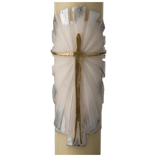 Paschal candle in beeswax with support and white and silver Resurrected Christ 8x120cm 2