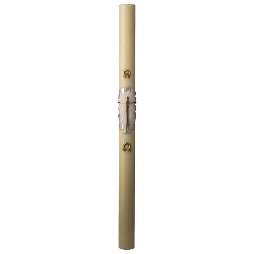 Paschal candle in beeswax with support and white and silver Resurrected Christ 8x120cm 3