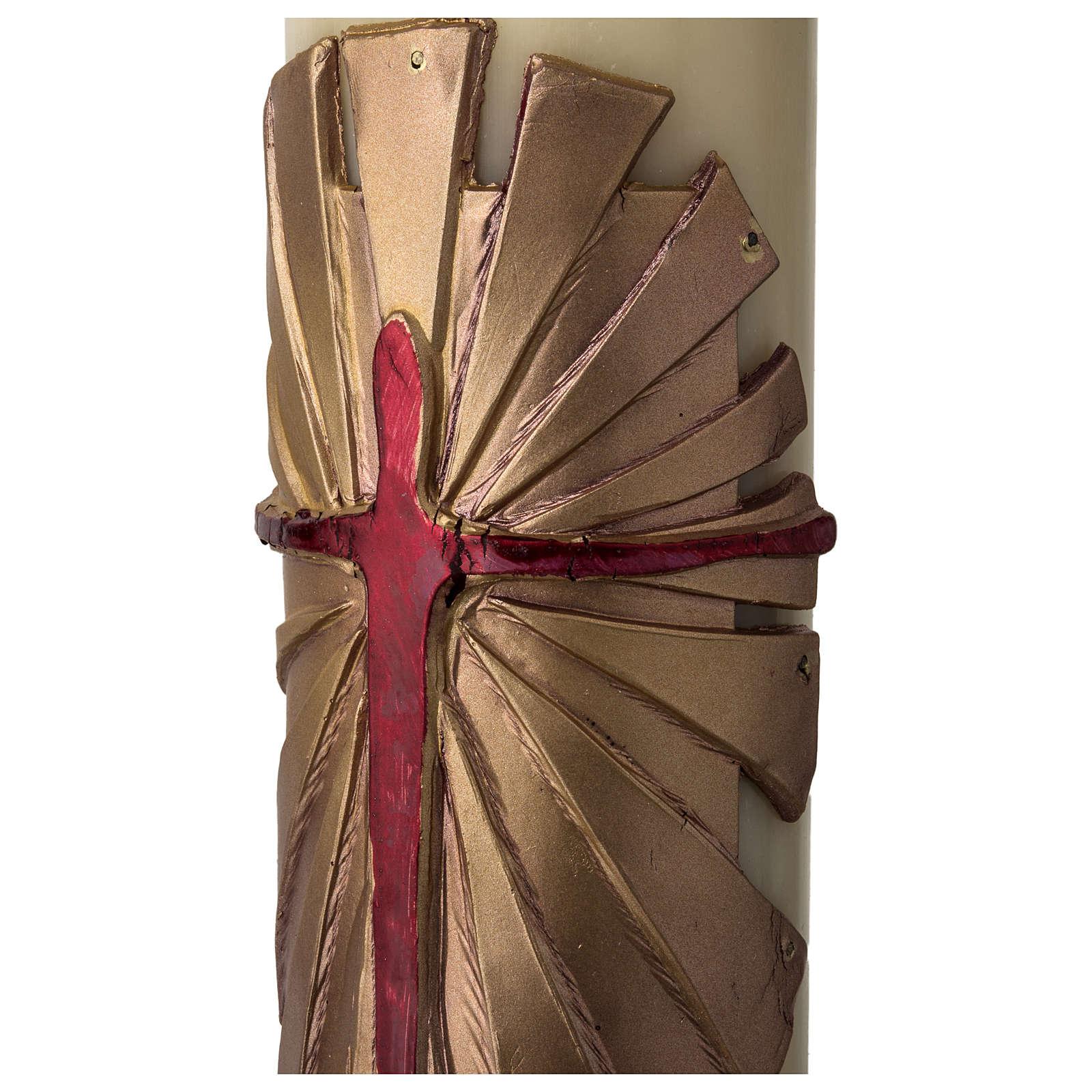 Cirio Pascual cera de abeja REFUERZO Jesucristo Resucitado fundo dorado 8x120 cm 3