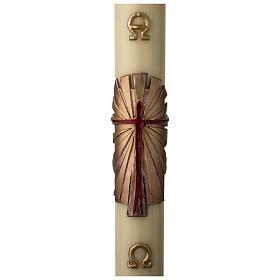Cirio Pascual cera de abeja REFUERZO Jesucristo Resucitado fundo dorado 8x120 cm s1