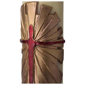 Cirio Pascual cera de abeja REFUERZO Jesucristo Resucitado fundo dorado 8x120 cm s4