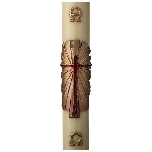 Cirio Pascual cera de abeja REFUERZO Jesucristo Resucitado fundo dorado 8x120 cm 1