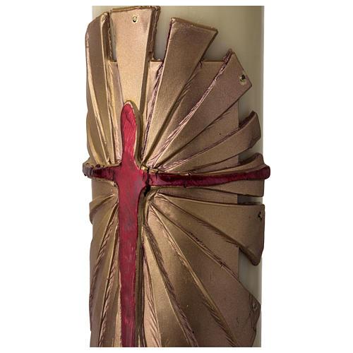 Cirio Pascual cera de abeja REFUERZO Jesucristo Resucitado fundo dorado 8x120 cm 4
