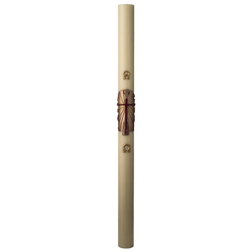 Paschal candle in beeswax with support and gold Resurrected Christ 8x120cm 3