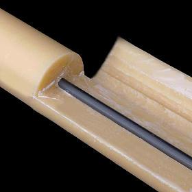 Cierge Pascal en cire d'abeilles AVEC RENFORT 8x150cm s4