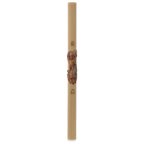 Paschal candle in beeswax with support and golden Resurrected Christ 8x120cm 3
