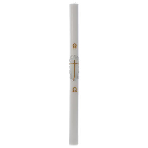 Cierge Pascal cire blanche RENFORT Ressuscité fond blanc argent 8x120cm 3
