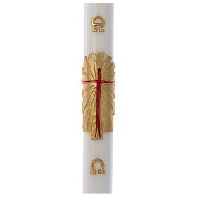 Bougies, cierges, chandelles: Cierge Pascal cire blanche RENFORT Ressuscité fond or 8x120cm