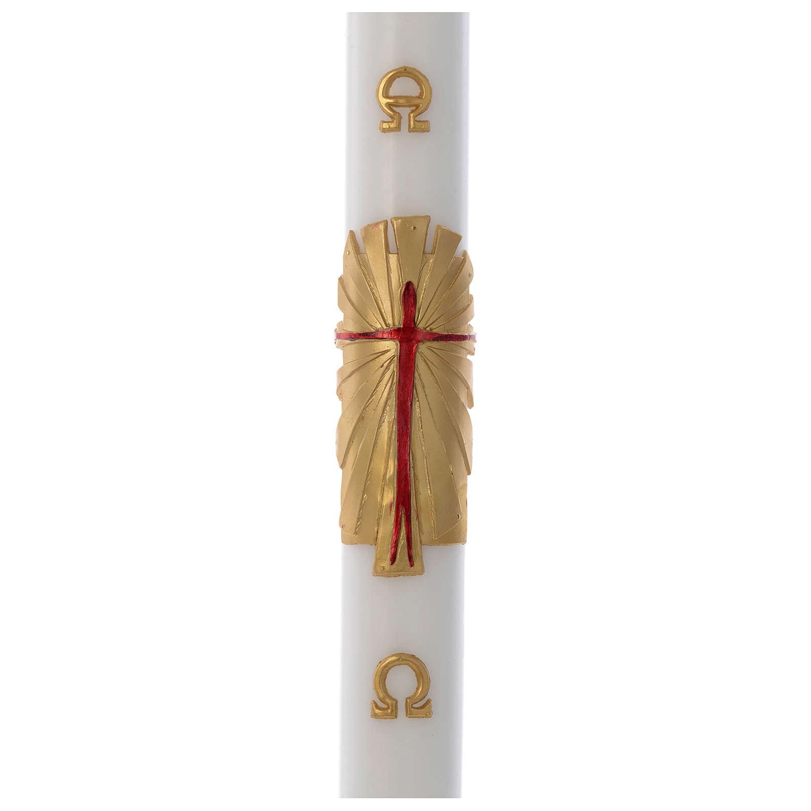 Cero pasquale cera bianca RINFORZO Risorto fondo oro 8x120 cm 3