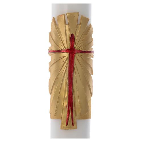 Cero pasquale cera bianca RINFORZO Risorto fondo oro 8x120 cm 2
