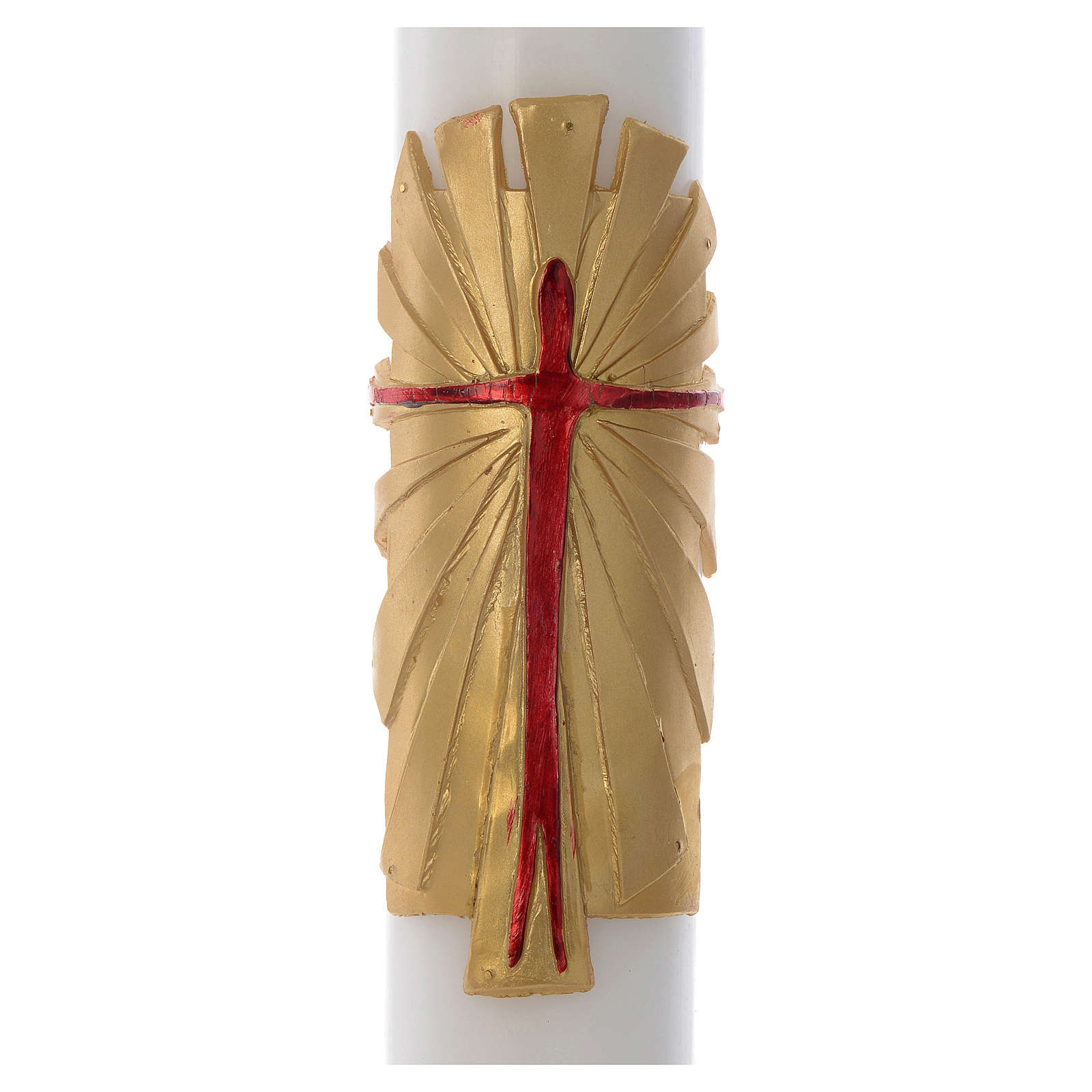 Paschal candle in white wax with support and golden Resurrected Christ 8x120cm 3